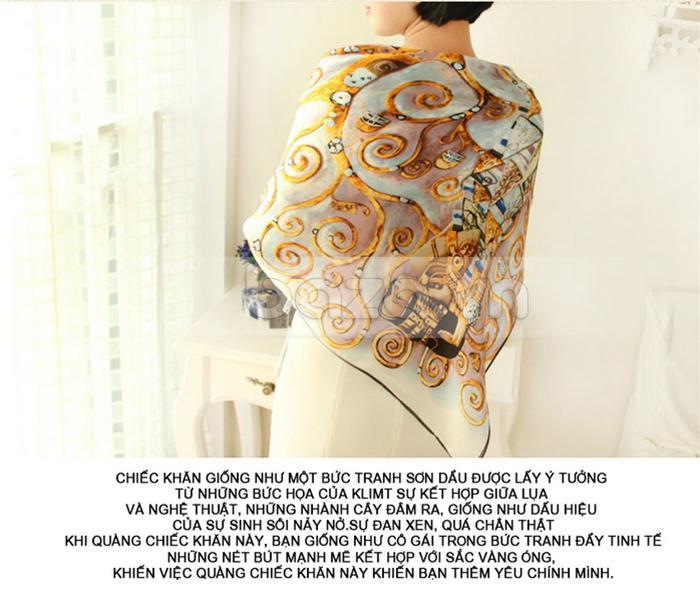 """Phụ kiện thời trang """" Khăn choàng thời trang nữ thanh lịch 100% lụa tơ tằm  """"  màu vàng kim rực rỡ"""