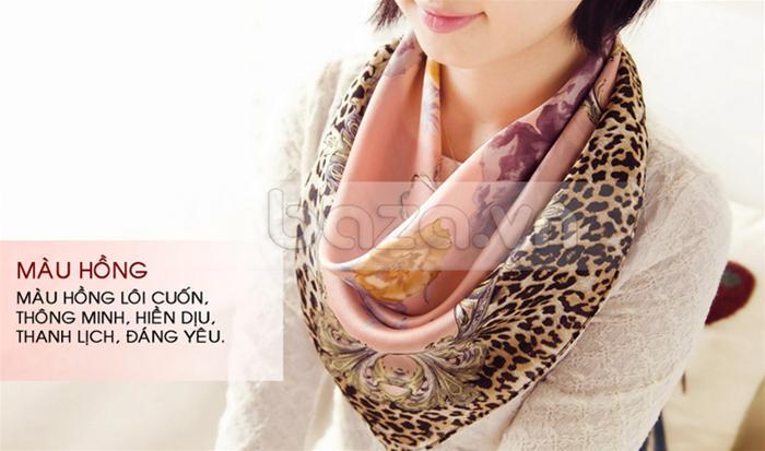 """Phụ kiện thời trang """" Khăn choàng thời trang nữ thanh lịch 100% lụa tơ tằm  """"  màu hồng"""