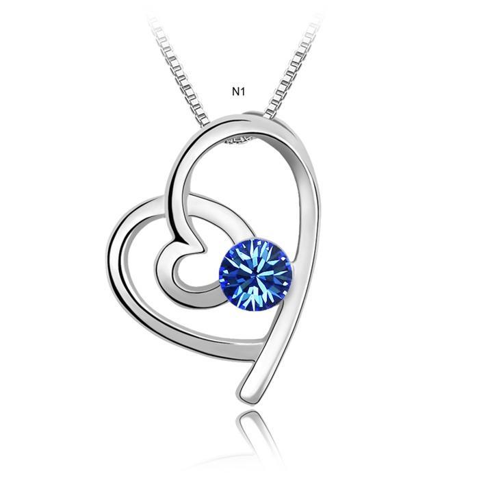 dây chuyền trái tim hòa hợp màu xanh sang trọng