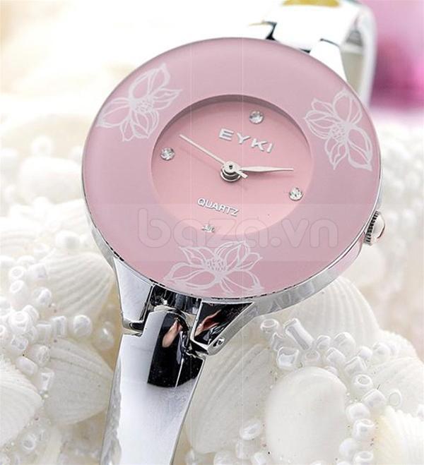 Đồng hồ in hoa Kimio W8063 màu hồng duyên dáng