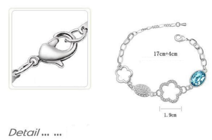 Lắc tay nữ Hoa mận biên cương chất liệu hợp kim mạ bạch kim
