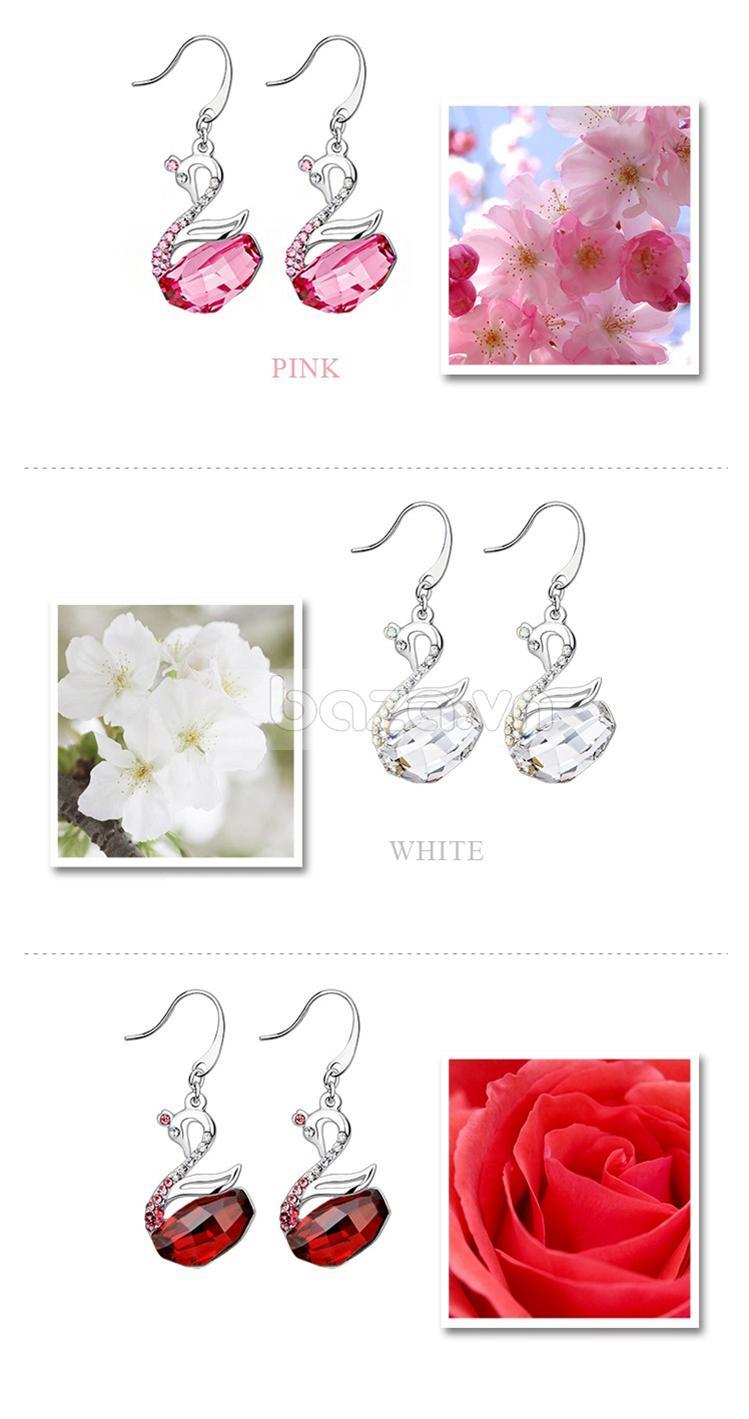 Baza.vn: Hoa Tai Thiên Nga Nữ Hoàng màu hồng như cánh anh đào rực rỡ