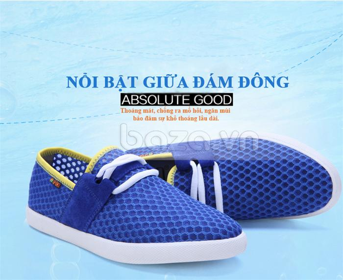 Giày nam CDD D666  màu xanh viền vàng nổi bật cá tính