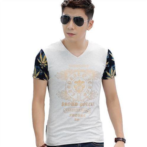 T-shirt nam ngắn tay cổ tim phối màu Sinhillze