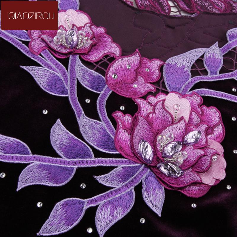Đầm nhung xếp ly chữ A viền hoa đính đá QIZ