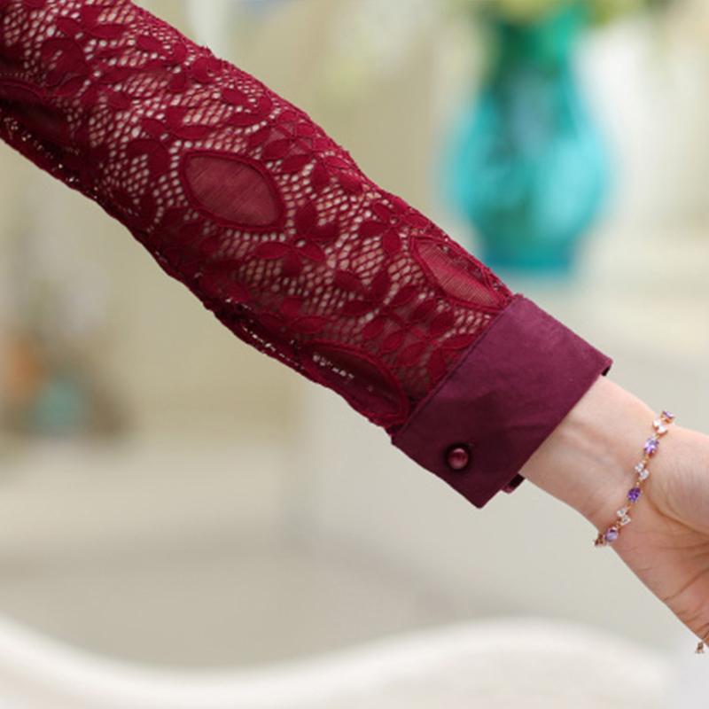 Đầm sơ mi dài tay ren hoa SMT