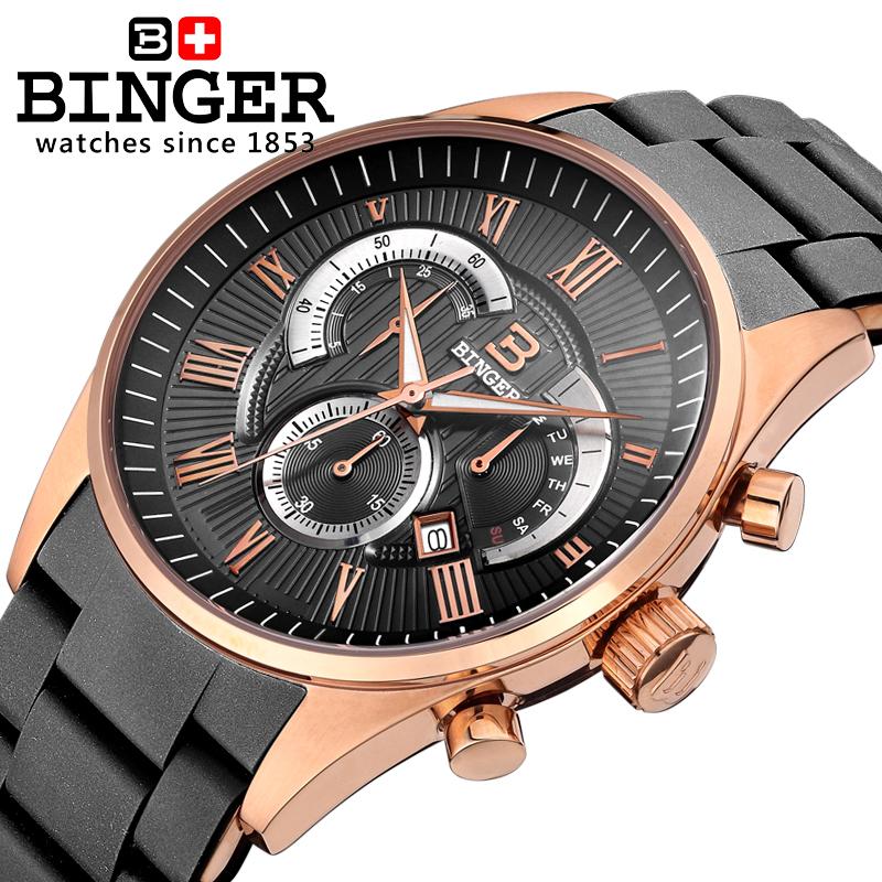 Đồng hồ Chronograph nam mặt số La Mã Binger