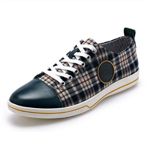Giày da nam CDD 1666 mặt vải kẻ sọc
