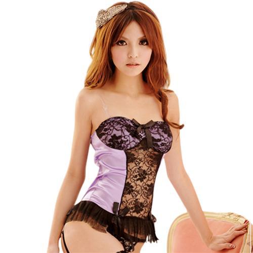 Áo ngủ phối màu, viền xếp kèm quần ngắn, đai tất và dây đeo vai Flower Angel