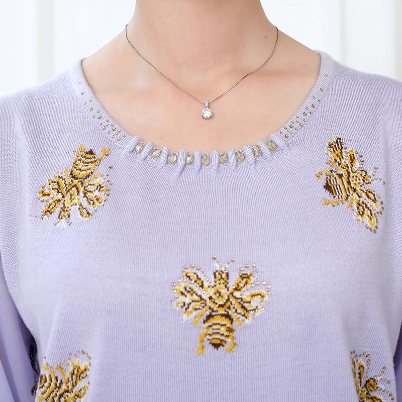 Áo len nữ tay lỡ cổ tròn họa tiết ong vàng SMT