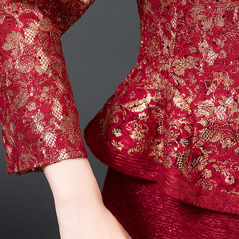 Váy Peplum tay lỡ hoa văn hoàng kim YNAL