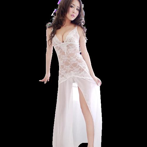 Váy ngủ maxi ren hoa xuyên thấu kèm quần chữ T Flower Angel