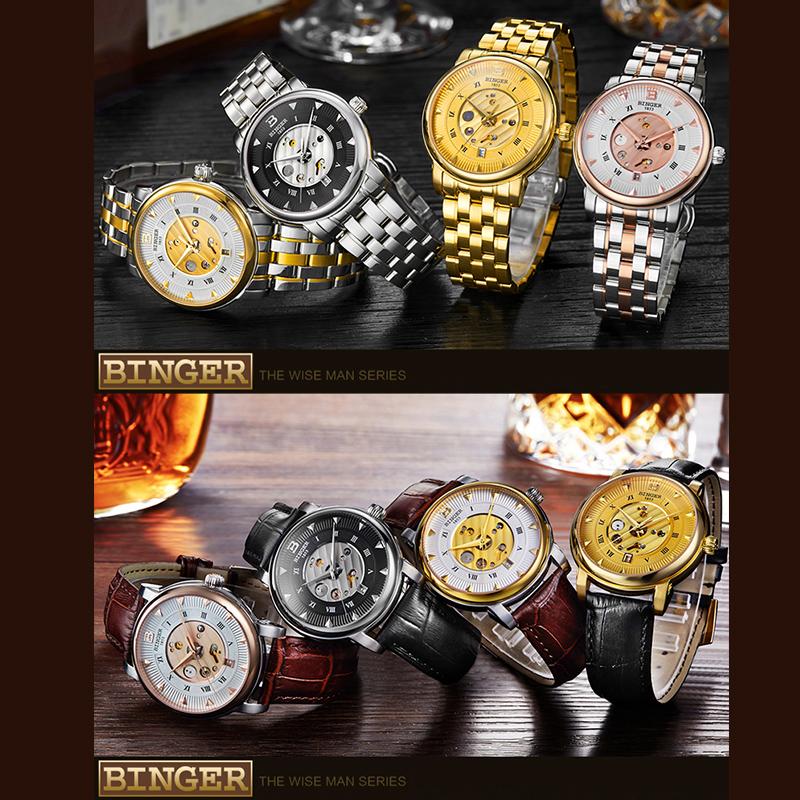 Đồng hồ nam Binger chạm rỗng số La Mã