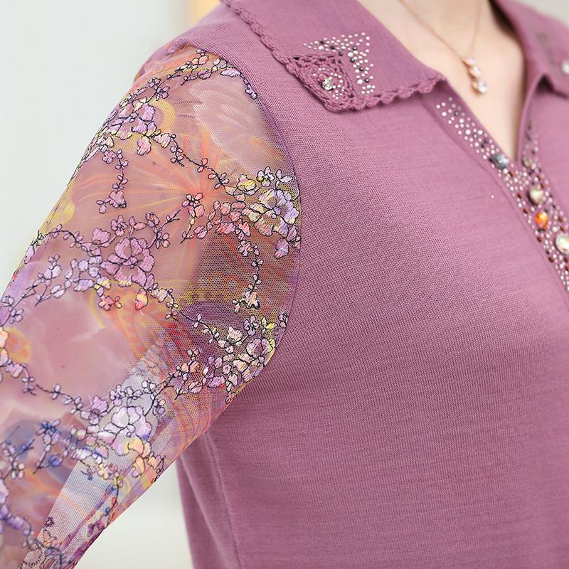 Áo len nữ trung niên họa tiết đá hạt SMT