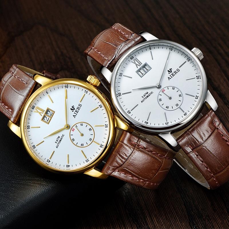 Đồng hồ cơ dây da nam Aiers