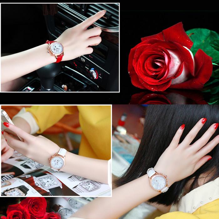 Đồng hồ nữ Vinoce V6276L dây da, viền đính đá tinh xảo