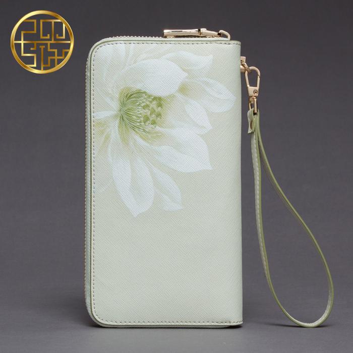 Ví cầm tay in hoa sen trắng PMSIX