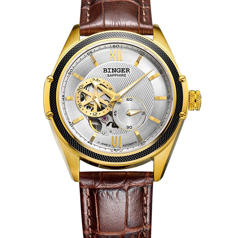 Đồng hồ chronograph nam chạm rỗng Binger