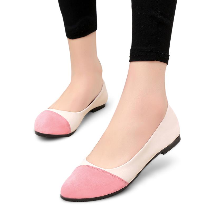 Giày búp bê da lộn phối màu HYGEIA