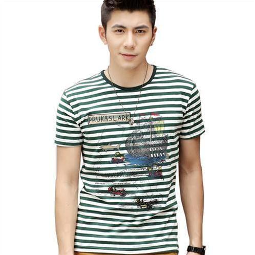 Áo T-shirt nam kẻ sọc ngang Sihillze họa tiết cartoon
