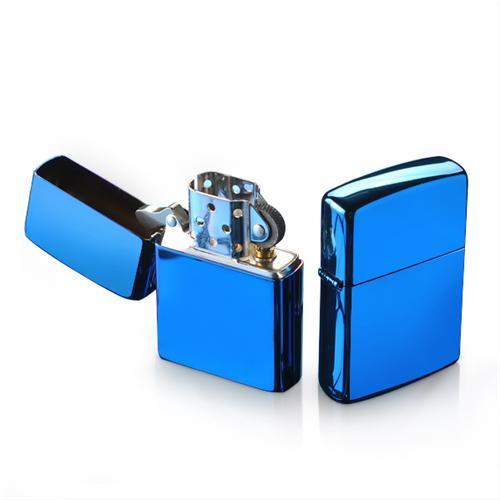 Bật lửa vỏ trơn mạ crom xanh Zorro z806