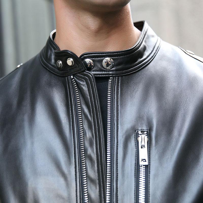 Áo Biker Jacket da cừu cổ đứng đai khuy bấm WDD