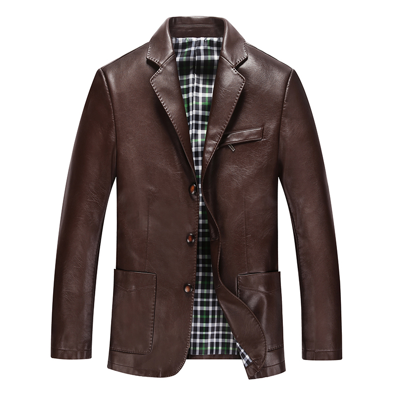 Áo jacket da nam giả vest HXDSL viền chỉ nổi túi hộp