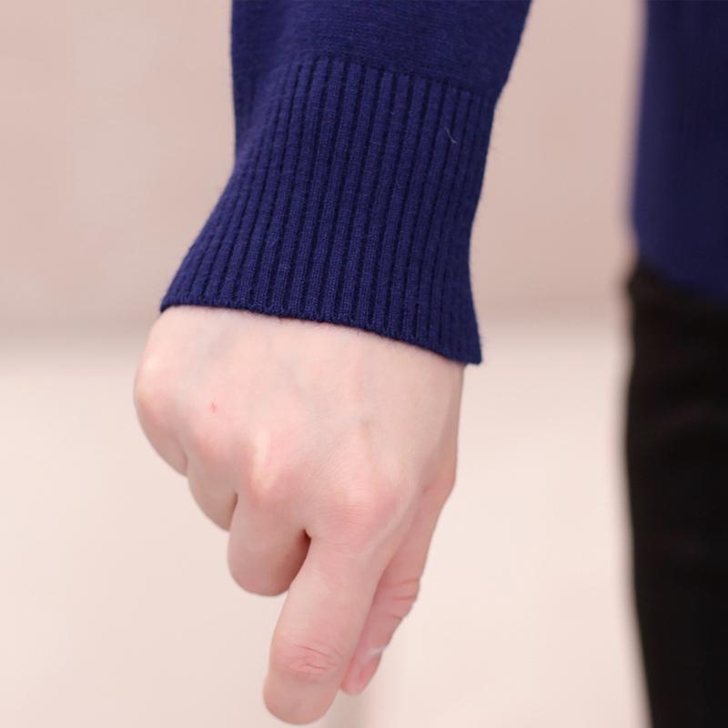 Áo len nữ dài tay cổ lọ nhún bèo đính đá hình giọt nước SMT