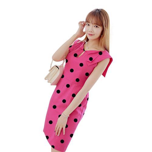 Đầm suông chấm bi cổ lật thời trang