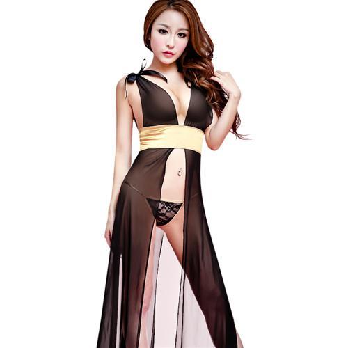 Bộ đồ ngủ nữ xẻ tà dáng dài kèm quần chữ T và đai lưng Flower Angel