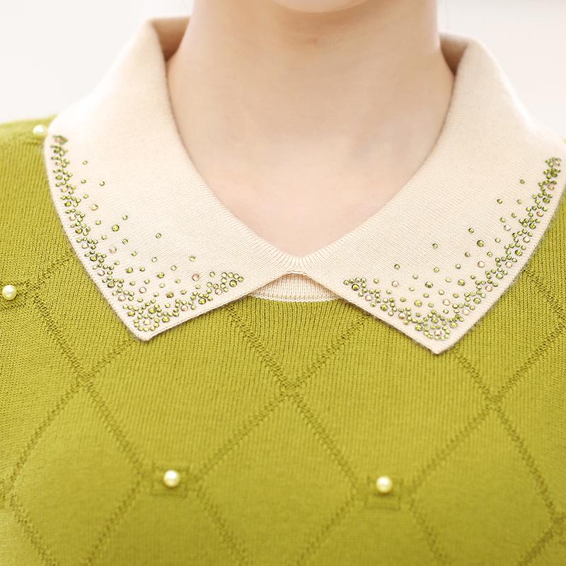 Váy len liền thân cổ bẻ đính đá phối màu SMT