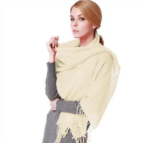 Khăn choàng nữ len lông cừu đơn sắc Lyza