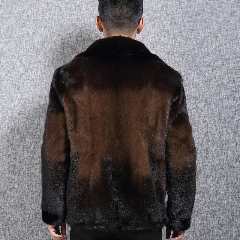Áo khoác lông chồn tự nhiên cổ bẻ phối màu WDD
