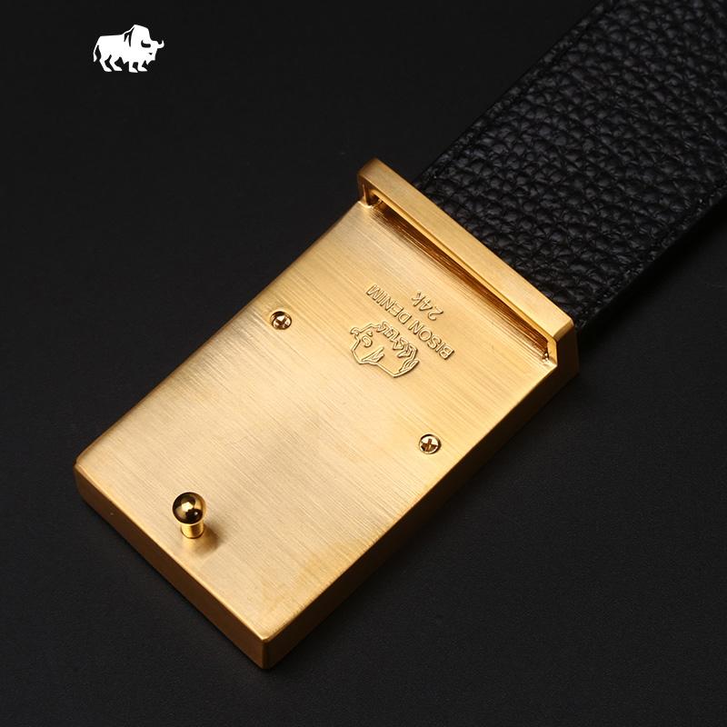 Dây lưng nam Bison Denim mặt khóa chữ L kép mạ vàng 24K