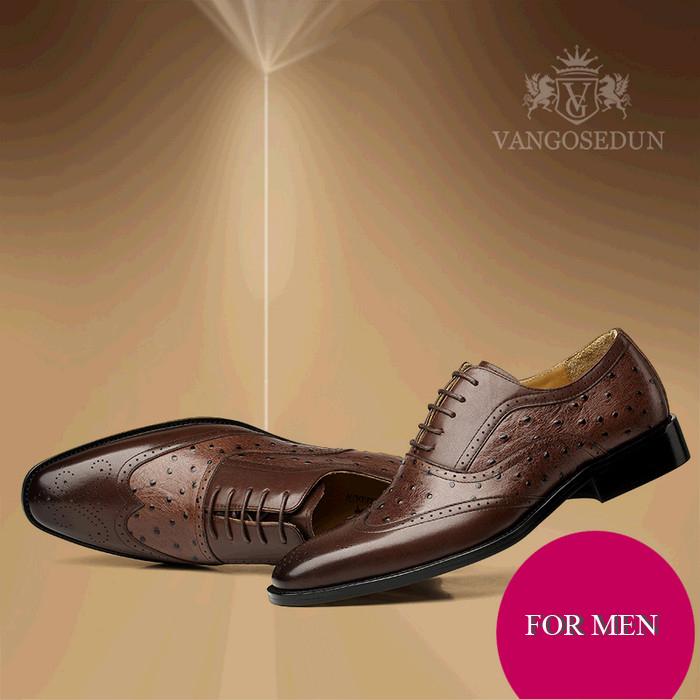Giày da nam mũi nhọn VANGOSEDUN VG78801