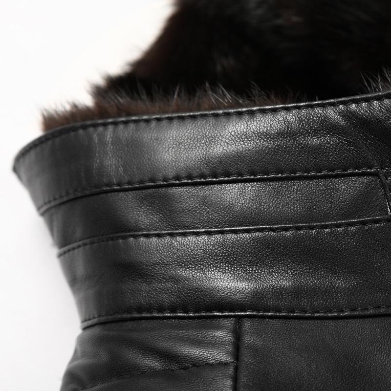 Áo khoác da cừu lót lông vũ cổ đứng NNA