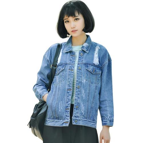 Áo khoác jeans mài rách streetstyle H&H