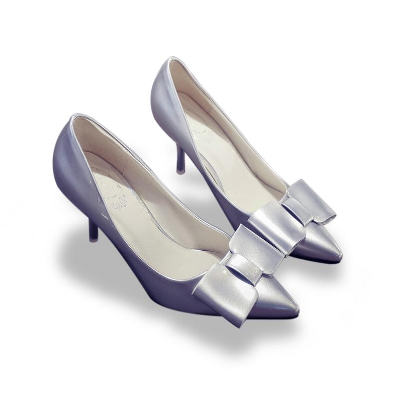 Giày cao gót nơ ánh kim Mina