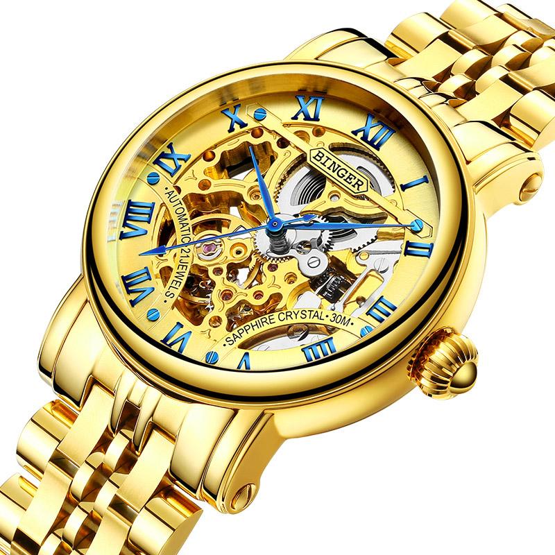 Đồng hồ nam chạm rỗng Binger số La Mã