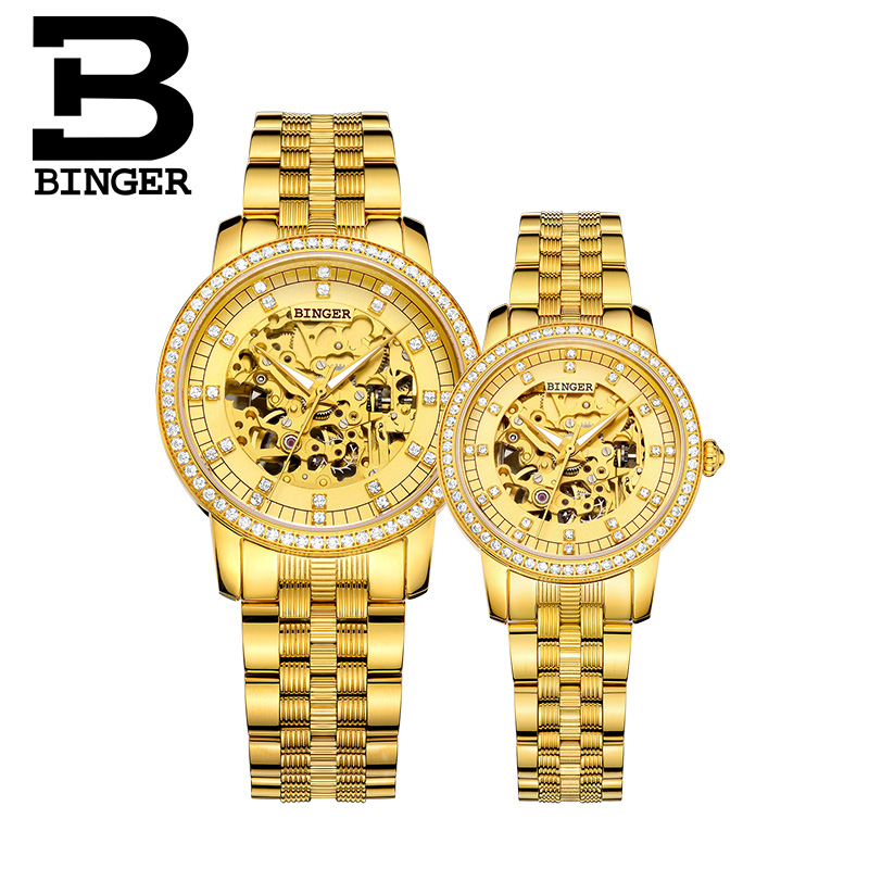 Đồng hồ Binger nam chạm rỗng đính đá