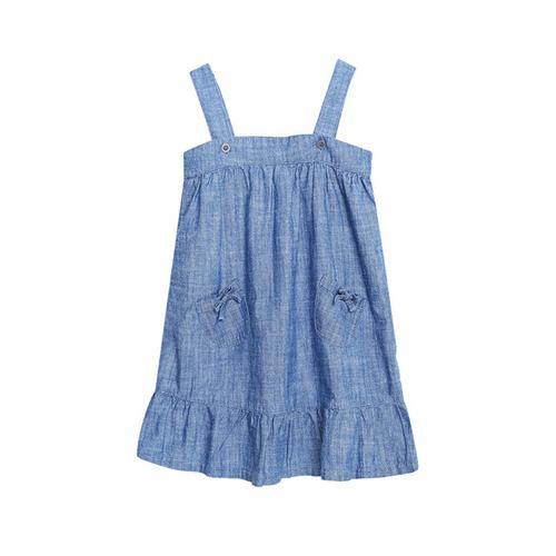 Váy jeans hai dây bé gái Canifa riềm nhún