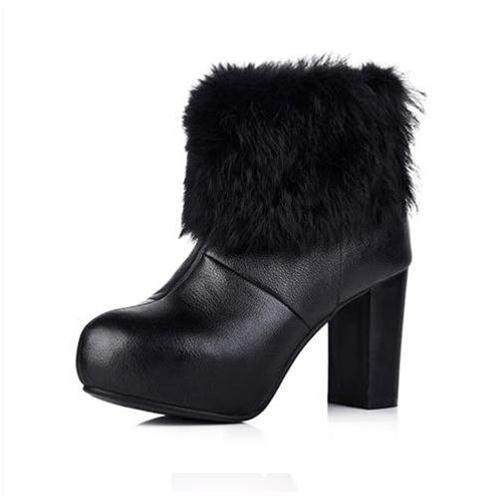 Giày bốt nữ cổ lông thời trang YiYa YY5755