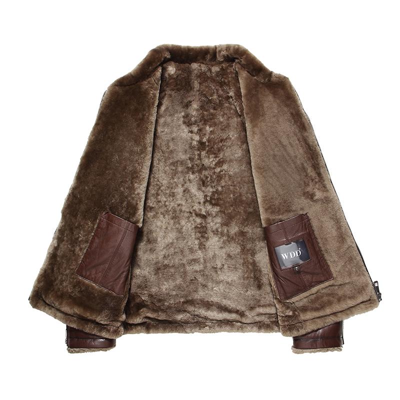 Áo khoác nam da dê lót lông cừu tự nhiên WDD