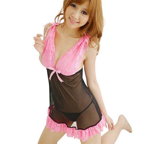 Váy ngủ đính nơ phối viền ren kèm quần chữ T Flower Angel