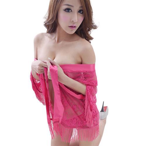 Bộ đồ ren xuyên thấu nữ gồm váy ngoài và quần chữ T Flower Angel 7110