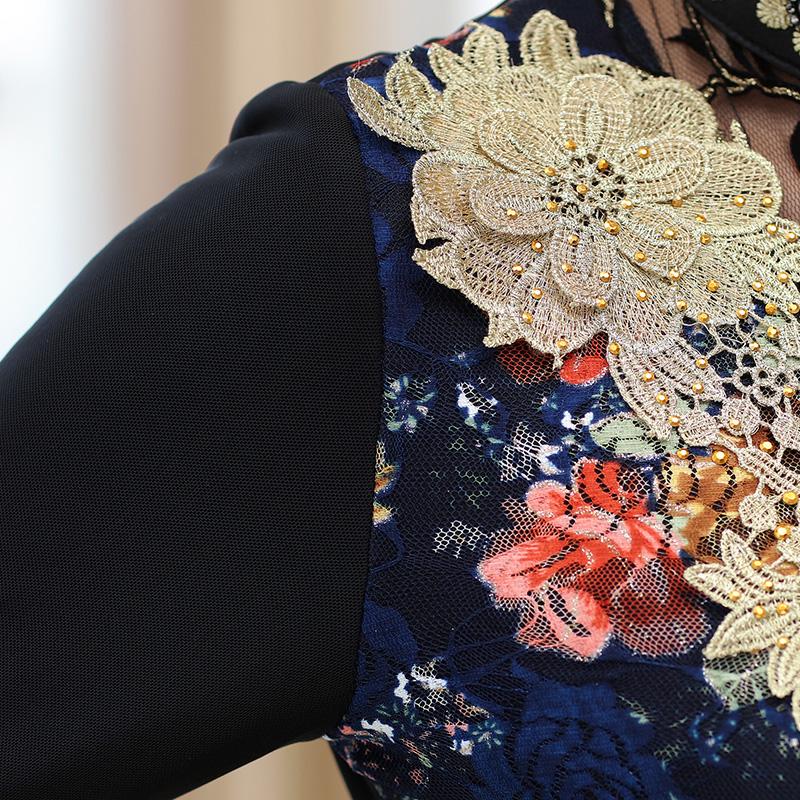 Áo kiểu nữ dài tay cổ ren thêu hoa SMT
