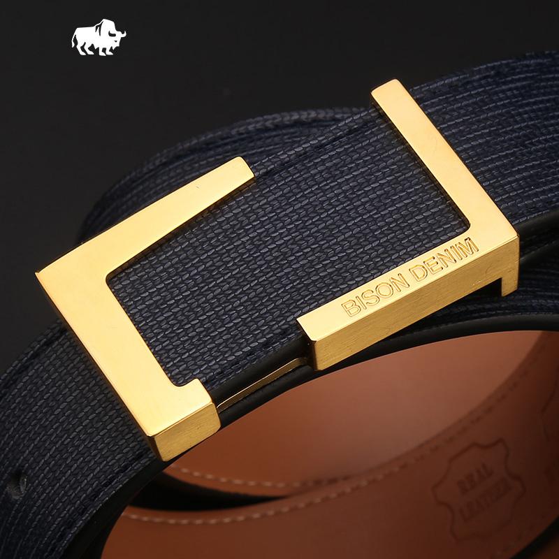 Dây lưng da nam mặt khóa chữ nhật cách điệu mạ vàng 24K Bison Denim