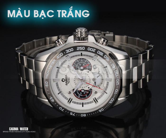 Đồng hồ nam Casima ST8206 màu bạc trắng dây đeo bạc