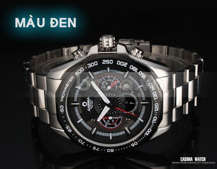 Đồng hồ nam Casima ST8206 màu đen dây đeo bạc