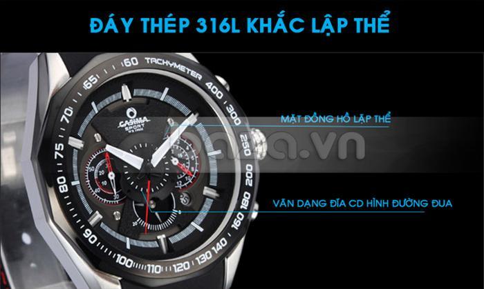 Đồng hồ nam Casima ST8206 thiết kế viền vân dạng đĩa CD